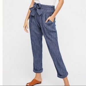 Free people striped cropped pantts
